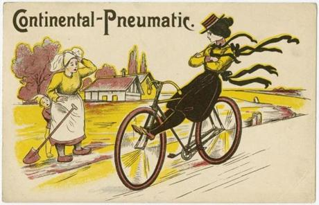 Woman riding a bicycle with no hands, from a series issued by Continentalpneumatic.